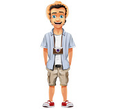 Male Vector Character with Hat and Camera