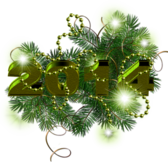 New Year 2014 Decoration With Green Stars and Transparent Background PSD