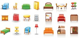 30 Detailed Home Furniture Vector Icons Set