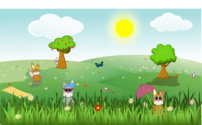 Summer green and sunny landscape with bunnies, trees, flowers, butterfly, apples, sports