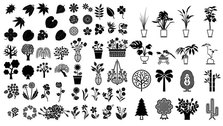 Elements of a variety of silhouettes vector material - plant
