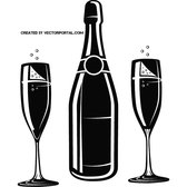 CHAMPAGNE BOTTLE AND GLASSES VECTOR.eps