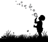 Vector Silhouette of Small Boy Blowing Bubbles