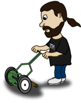 Comic characters: Guy pushing reel mower