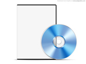 Blank white case with DVD, PSD web template