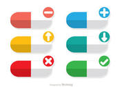 Colorful Pills Vectors with Icons