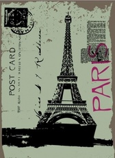 Post card design with eiffel tower drawing