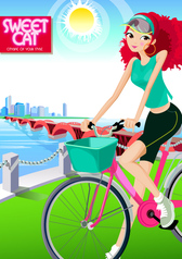 Fashion Girls Vector Graphic Cycling
