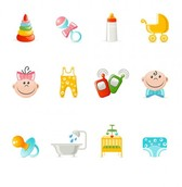 12 Baby Related Vector Icons Set