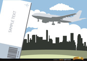 Airplane flying city skyline and ticket