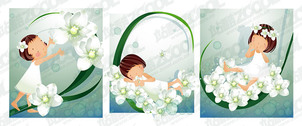 White flower theme 2 (South Korea iClickart Four Seasons cut