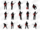 Play the guitar figure silhouettes