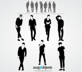 Free Male Model Silhouettes Vectors Pack