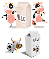 Cartoon cow milk cartons and