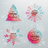 Colorful Christmas tree snowflake label icon