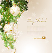 Christmas Card with Tree Branch & Ornaments