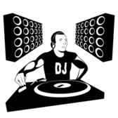 Silhouette DJ Boy with Speakers