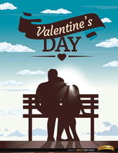 Valentine's couple bench blue sky