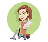 Busy Housewife Vector Character