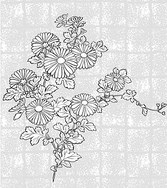 Japanese Line Drawing Of Plant Material -37 Vector Flowers (