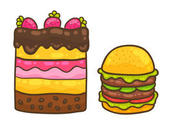 Cake Vector and Burger Vector Pack
