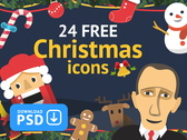 Christmas & New Year Free Set Colorful Ficons Icons 24