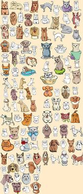 Accommodates A Comic Style Of Cats And Dogs
