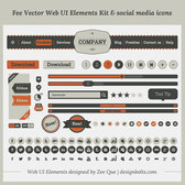 Vintage UI Kit and Social Media Icons