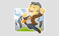 Vector Delight Old Businessman Over Success (.Ai)