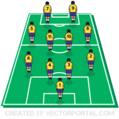 Soccer / Football Tactics Board with Players on Field Vector Template
