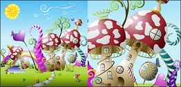 Mushrooms Cute fairy-tale world