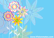 Cartoon Flowers On Blue Background