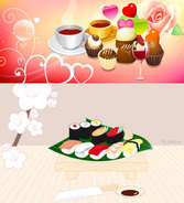 Sushi and cake coffee