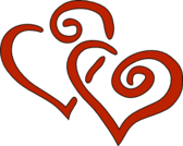 Red curly hearts