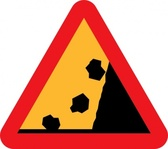 Falling Rocks From Rhs Roadsign