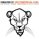 HEAD OF WILD CAT VECTOR GRAPHICS.eps