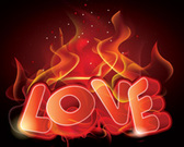 Flaming 3D Love