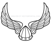 Winged Viking Helmet Vector Art