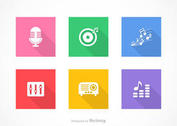 Free Flat Music Vector Icons