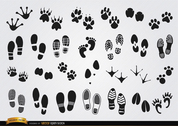 Footprints silhouettes of humans and animals