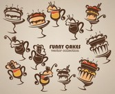 Funny cakes vector collections