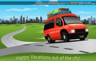 Leaving the City for Vacation Vector Scene