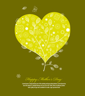Heart-Shaped Vector Tree Illustration For Mother's Day Greeting Card Template