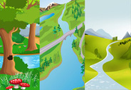 Free vector cute cartoon landscape
