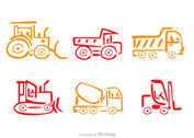 Colorful Line Dump Trucks