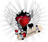 Happy Valentine's Day Winged Vector Hearts