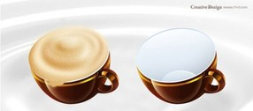 Delicious Cup of Cappuccino Coffee Icon Set
