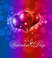 Colorful Valentine Day Background with Heart and Love