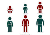 Growing Man Stick Figure Icons Vector Pack