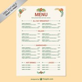 Editable restaurant menu template